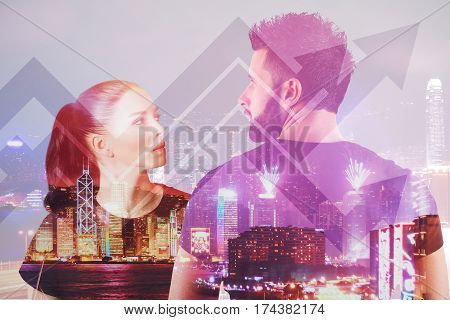 Male and female on abstract city background with upward arrows. Finance concept. Double exposure