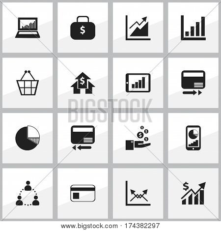 Set Of 16 Editable Analytics Icons. Includes Symbols Such As Phone Statistics, Trading Purse, Equalizer Display And More. Can Be Used For Web, Mobile, UI And Infographic Design.