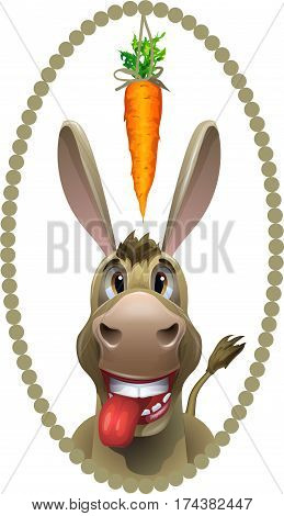 Donkey, running after a carrot on a white background. Vector Image.