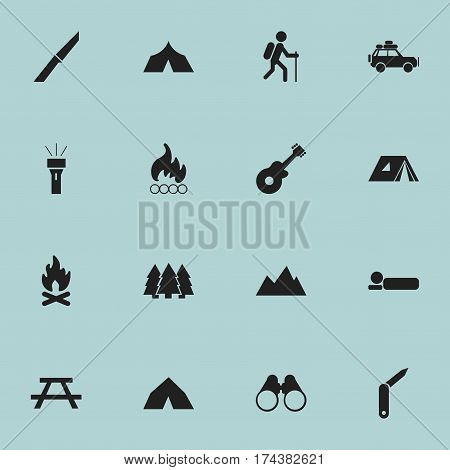 Set Of 16 Editable Travel Icons. Includes Symbols Such As Tepee, Refuge, Field Glasses And More. Can Be Used For Web, Mobile, UI And Infographic Design.