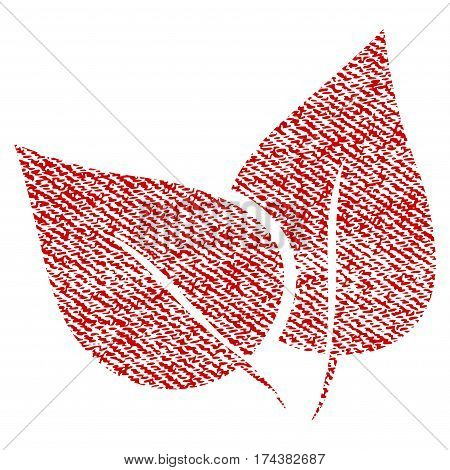 Flora Plant vector textured icon for overlay watermark stamps. Red fabric vectorized texture. Symbol with dirty design. Red ink rubber seal stamp with fiber textile structure.