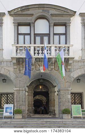 LJUBLJANA SLOVENIA - OCTOBER 12: Town Hall in Ljubljana on OCTOBER 12 2014. Entrance to Town Hall Building in Ljubljana Slovenia.