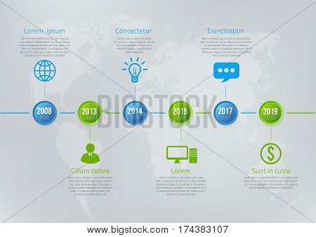 Infographics timeline blue and green colored vector template 5 steps, milestones or options
