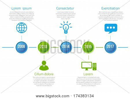 Timeline infographics with 5 steps of years or milestone green and blue colored vector template