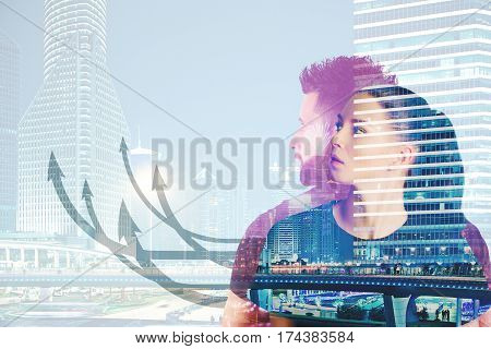 Businessman and woman on abstract city background with upward arrows. Teamwork concept. Double exposure
