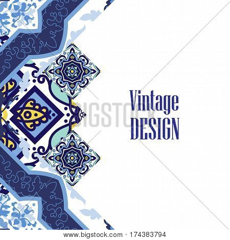 Vintage Banner for business and invitation  card.  Portuguese tiles azulejo. Template with decorative tiles ornamental element. For  postcard, brochure, advertising,  bookmark, leaflet. Vector.