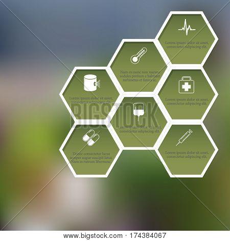 Health dangers on blured background. EPS10 vector honeycomb illustration