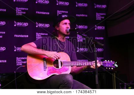 PARK CITY, UTAH-JAN 23: Musician Walter Schreifels performs onstage at the Sundance ASCAP Music Cafe during the 2016 Sundance Film Festival - Day 3 on January 23, 2016 in Park City, Utah.