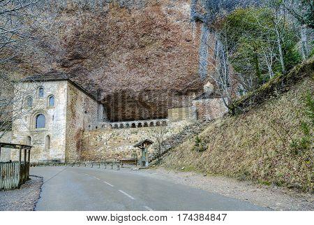 View of the romanesque monastery of San Juan de la Pena Aragon