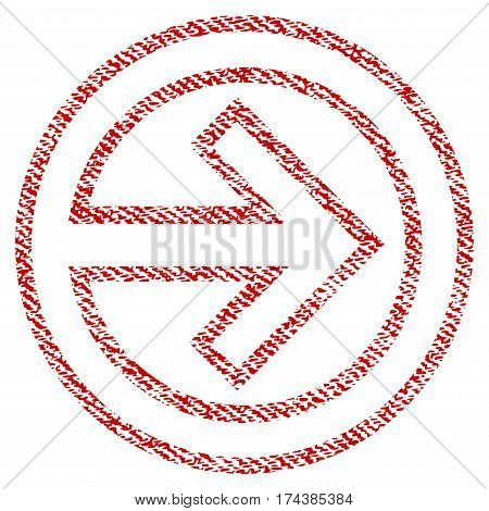 Import vector textured icon for overlay watermark stamps. Red fabric vectorized texture. Symbol with unclean design. Red ink rubber seal stamp with fiber textile structure.