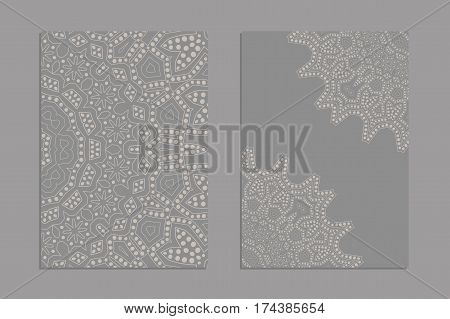 Templates for greeting and business cards, brochures, covers with floral motifs. Oriental lace pattern. Mandala. Wedding invitation, save the date,RSVP. Arabic, Islamic, asian, indian, african motifs.
