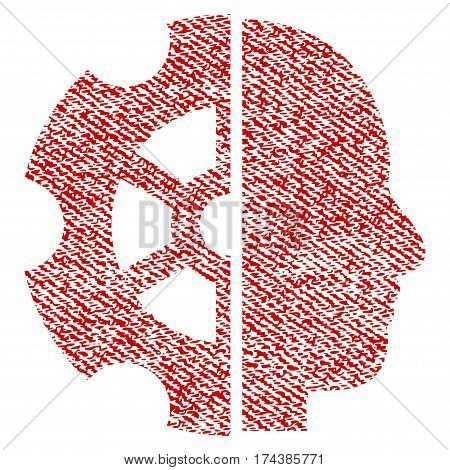 Intellect vector textured icon for overlay watermark stamps. Red fabric vectorized texture. Symbol with scratched design. Red ink rubber seal stamp with fiber textile structure.