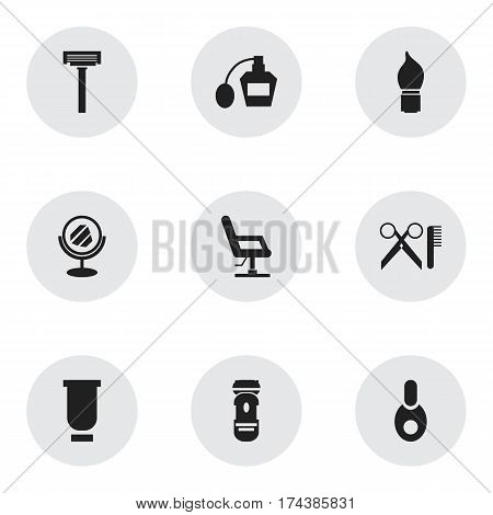 Set Of 9 Editable Hairdresser Icons. Includes Symbols Such As Elbow Chair, Barber Tools, Peeper And More. Can Be Used For Web, Mobile, UI And Infographic Design.
