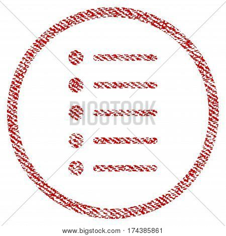 Items vector textured icon for overlay watermark stamps. Red fabric vectorized texture. Symbol with dirty design. Red ink rubber seal stamp with fiber textile structure.