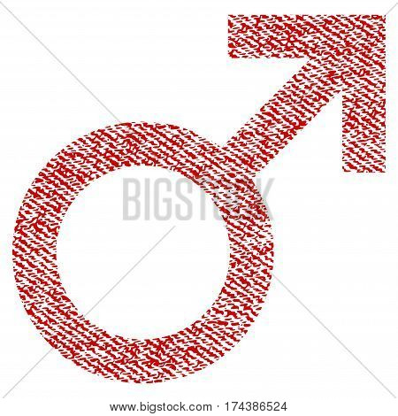 Male Symbol vector textured icon for overlay watermark stamps. Red fabric vectorized texture. Symbol with scratched design. Red ink rubber seal stamp with fiber textile structure.