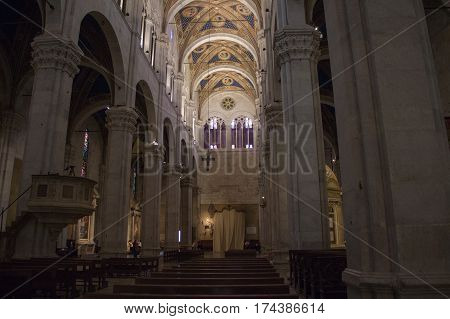 Italy Lucca - September 18 2016: interior view of Lucca Cathedral. Cattedrale di San Martino on September 18 2016 in Lucca Tuscany Italy.