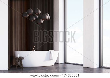 Bathroom With Lamps, Dark Wood, Corner