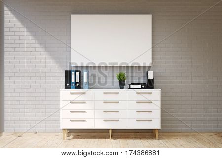 Living Room With Cabinet And Poster