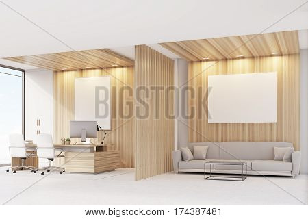 Ceo Office With Sofa, Table And Poster, Side