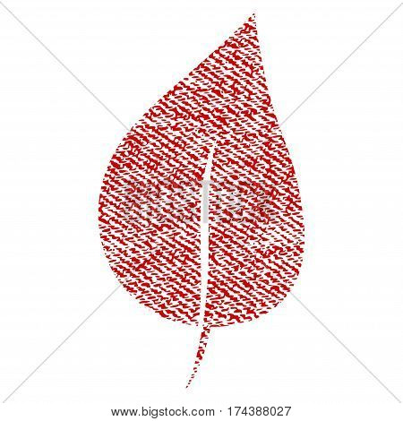 Plant Leaf vector textured icon for overlay watermark stamps. Red fabric vectorized texture. Symbol with dust design. Red ink rubber seal stamp with fiber textile structure.