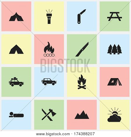 Set Of 16 Editable Trip Icons. Includes Symbols Such As Lantern, Shelter, Voyage Car And More. Can Be Used For Web, Mobile, UI And Infographic Design.