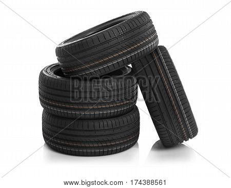 Car tires isolated on white background. Summer car tires.