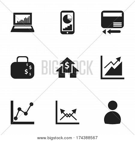 Set Of 9 Editable Statistic Icons. Includes Symbols Such As Cash Briefcase, User, Schema And More. Can Be Used For Web, Mobile, UI And Infographic Design.