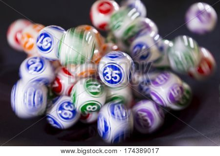 Colourful Lottery Balls In A Machine 35