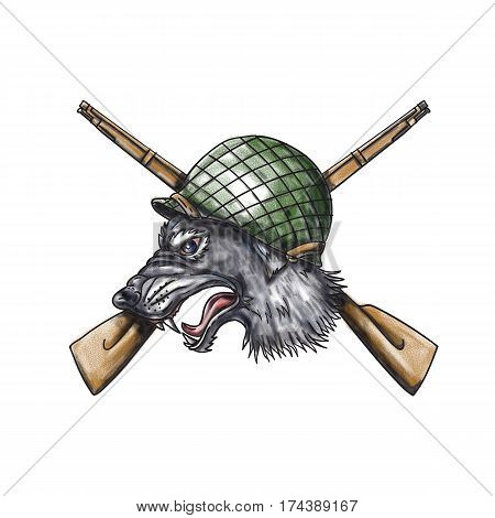 Tattoo style illustration of a grey wolf head wearing world war two helmet with crossed rifles in the background viewed from the side.