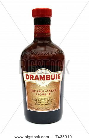 Camberley, Uk - March 1St 2017: A Bottle Of Drambuie Liqueur, A Popular After Dinner Alcoholic Drink