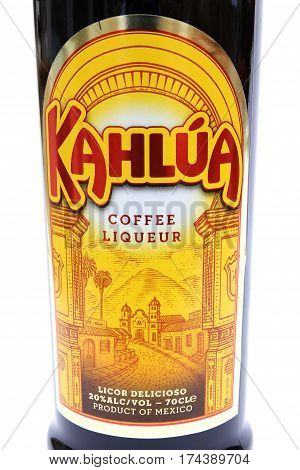Camberley, Uk - March 1St 2017: Label On A Bottle Of Kahlua Coffee Liqueur, A Popular Drink Made In