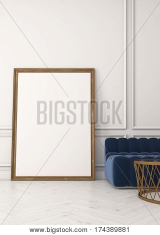 Close Up Of Vertical Poster, Sofa, White Wall