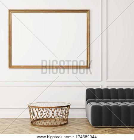 Close Up Horizontal Poster, Gray Sofa, White Wall