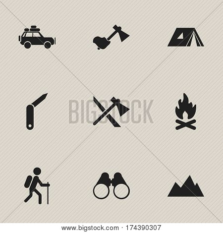 Set Of 9 Editable Camping Icons. Includes Symbols Such As Peak, Tomahawk, Shelter And More. Can Be Used For Web, Mobile, UI And Infographic Design.