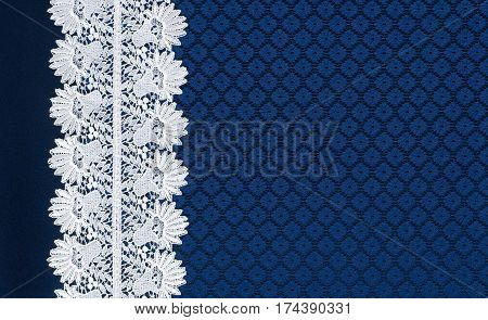 White Lace On Background Blue Guipure