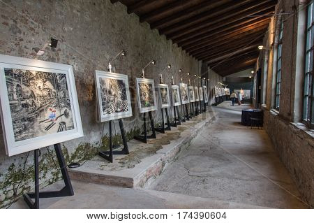 Italy Lucca - September 18 2016: the view an art exhibition in Palazzo Pfanner on September 18 2016 in Lucca Tuscany Italy.