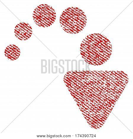Redo vector textured icon for overlay watermark stamps. Red fabric vectorized texture. Symbol with dust design. Red ink rubber seal stamp with fiber textile structure.