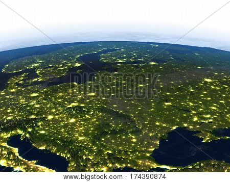Eastern Europe At Night On Planet Earth