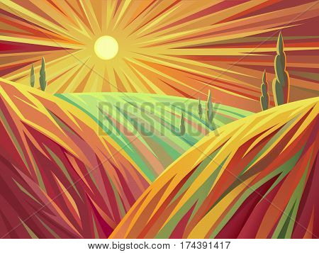 A stylized vector illustration of landscape in the plains at sunset. Implemented in a stylized art which is expressed through a specific lines and color vision.