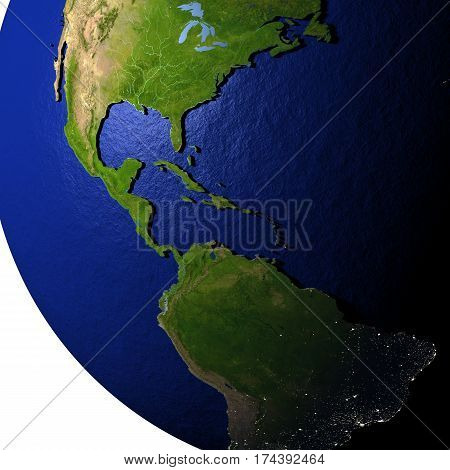Central America On Model Of Earth With Embossed Land