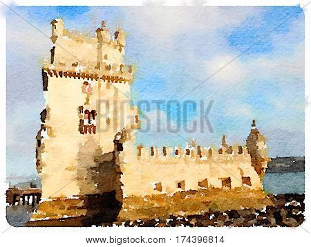 Digital watercolor painting of the Torre de Belem. Belem Tower in Lisbon Portugal. With space for text.