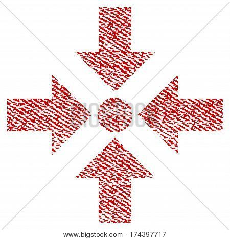 Shrink Arrows vector textured icon for overlay watermark stamps. Red fabric vectorized texture. Symbol with unclean design. Red ink rubber seal stamp with fiber textile structure.