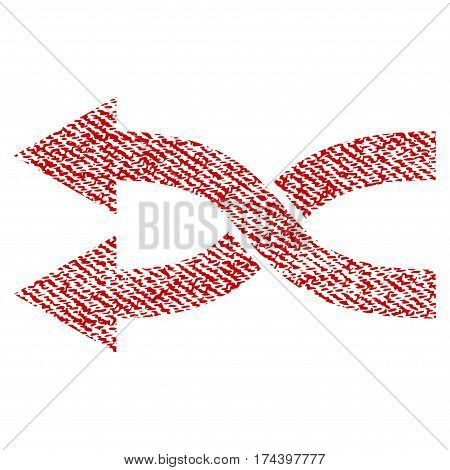 Shuffle Arrows Left vector textured icon for overlay watermark stamps. Red fabric vectorized texture. Symbol with scratched design. Red ink rubber seal stamp with fiber textile structure.