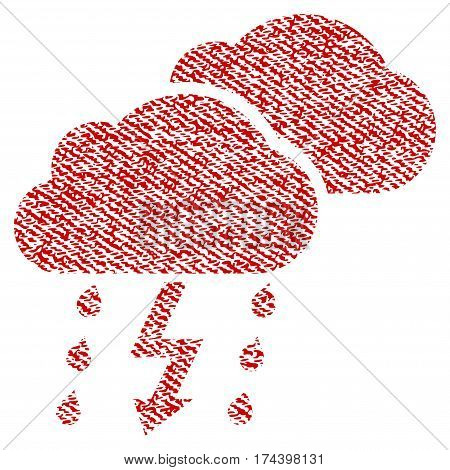 Thunderstorm Clouds vector textured icon for overlay watermark stamps. Red fabric vectorized texture. Symbol with dirty design. Red ink rubber seal stamp with fiber textile structure.