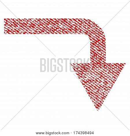 Turn Down vector textured icon for overlay watermark stamps. Red fabric vectorized texture. Symbol with scratched design. Red ink rubber seal stamp with fiber textile structure.