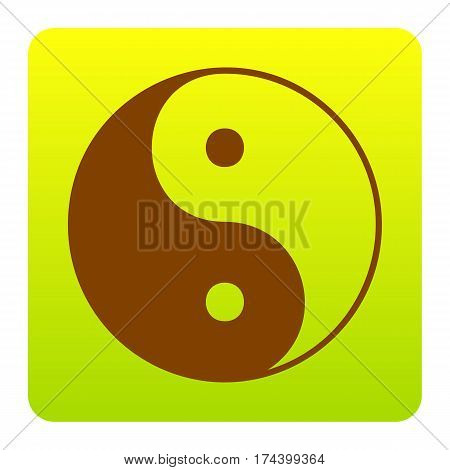 Ying yang symbol of harmony and balance. Vector. Brown icon at green-yellow gradient square with rounded corners on white background. Isolated.