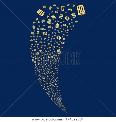 Dustbin random fireworks stream. Vector illustration style is flat yellow iconic symbols on a blue background. Object fountain done from scattered symbols.