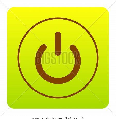 On Off switch sign. Vector. Brown icon at green-yellow gradient square with rounded corners on white background. Isolated.