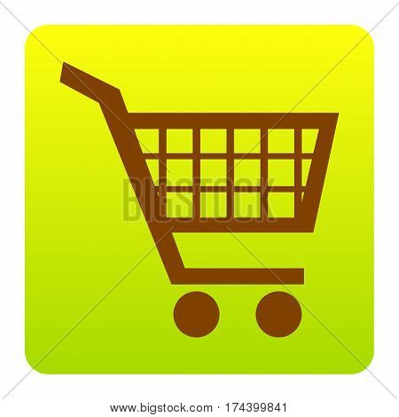 Shopping cart sign. Vector. Brown icon at green-yellow gradient square with rounded corners on white background. Isolated.