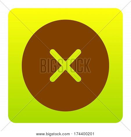 Cross sign illustration. Vector. Brown icon at green-yellow gradient square with rounded corners on white background. Isolated.